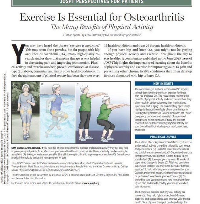 """Physical activity and exercise therapy not only improve symptoms and impairments of OA, but are also effective in"